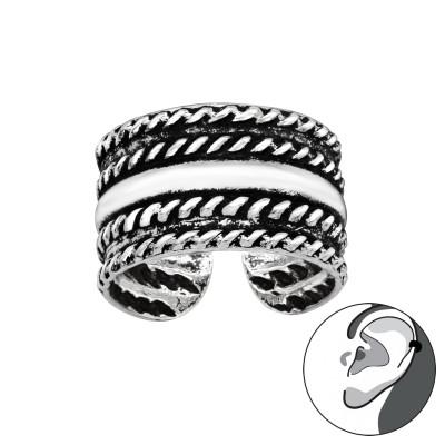 Silver Rope Ear Cuff