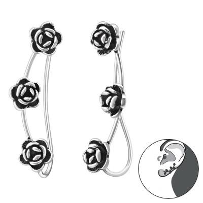 Silver Rose Ear Pin
