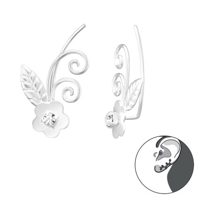 Silver Flower Ear Pin with Crystal