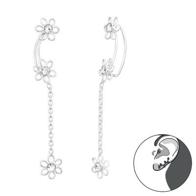 Silver Flower Ear Pin with Crystals and Hanging Flower