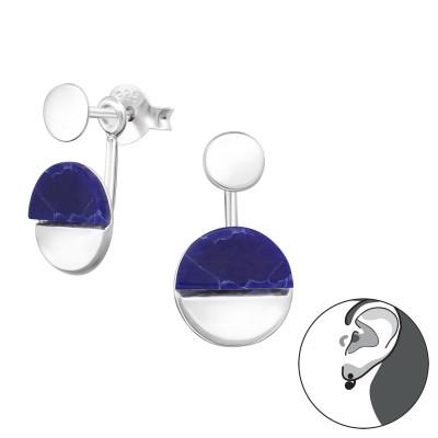Silver Round Ear Jacket with Imitation Stone