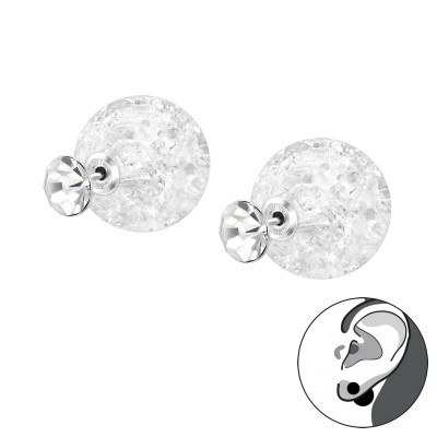 Silver Round Double Earrings with Cracked Ball and Crystal