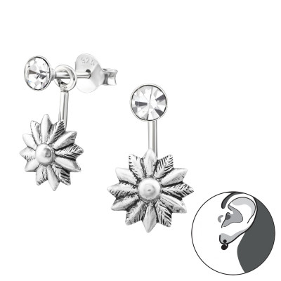 Silver Flower Ear Jacket with Crystal