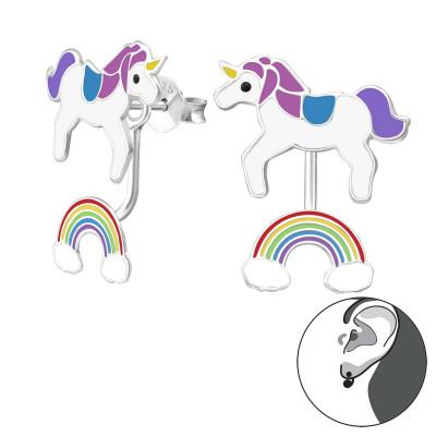 Silver Unicorn and Rainbow Ear Jacket with Epoxy