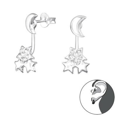 Silver Moon and Star Ear Jacket with Crystal