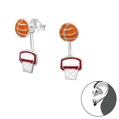 Silver Basketball Lovers Ear Jacket with Epoxy
