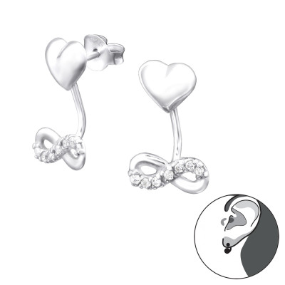 Silver Infinity Love Ear Jacket with Cubic Zirconia