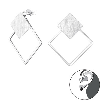 Silver Square Ear Jacket