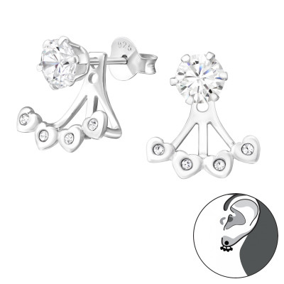 Silver Heart Ear Jacket with Cubic Zirconia and Crystal