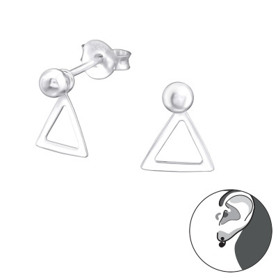 Silver Ball Ear Studs with Hanging Triangle and Ear Jacket