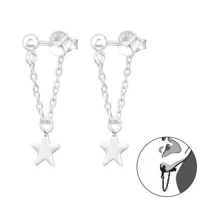 Silver Ball 3mm Ear Jacket with Hanging Chain and Star