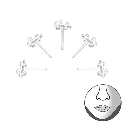 Set of 5 Silver Anchor Bend To Fit Nose Studs