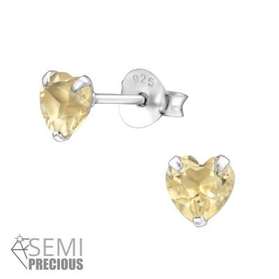 Silver Heart Ear Studs with Semi Precious