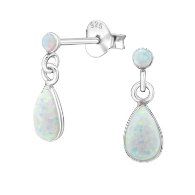 Silver Pear Ear Studs with Opal