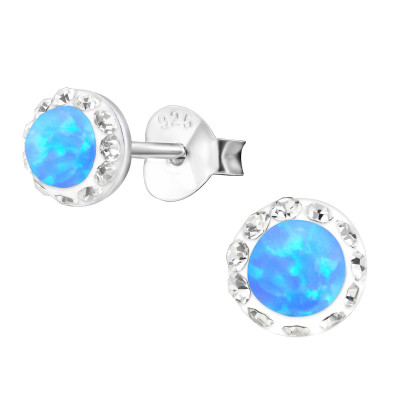 Silver Round Ear Studs with Crystal and Opal