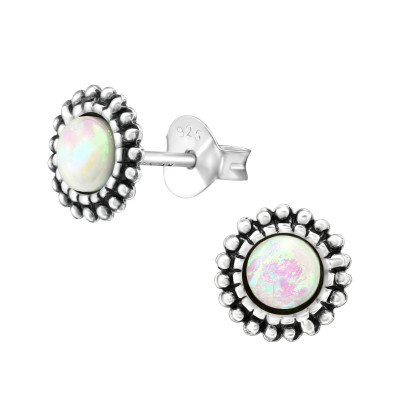Silver Round Ear Studs with Synthetic Opal