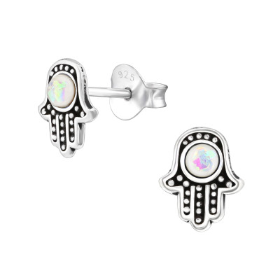 Silver Hamsa Ear Studs with Synthetic Opal