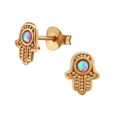 Silver Hamsa Ear Studs with Opal