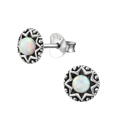 Silver Oxidized Star Ear Studs with synthetic opal