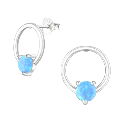 Silver Circle Ear Studs with Opal