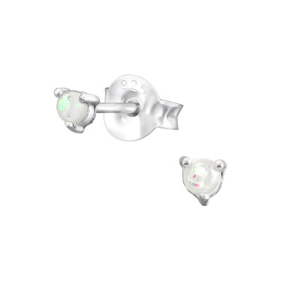 Silver Round 2mm Ear Studs with Synthetic Opal