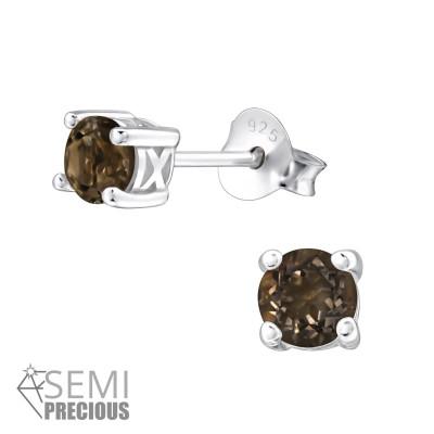 Silver Round 4mm Ear Studs with Semi Precious