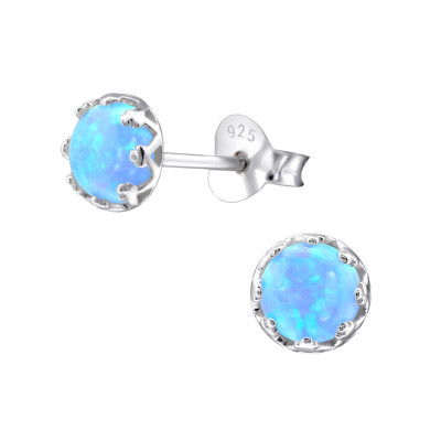 Silver Round Ear Studs with Opal