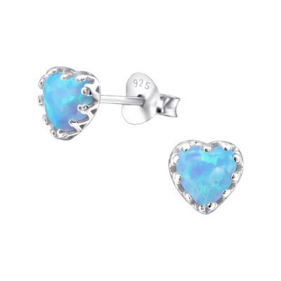 Silver Heart Ear Studs with Opal