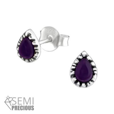 Silver Pear Ear Studs with Semi Precious
