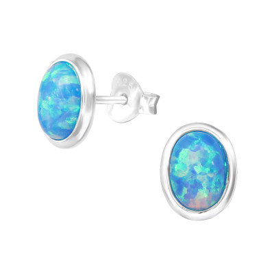 Silver Oval Ear Studs with Opal