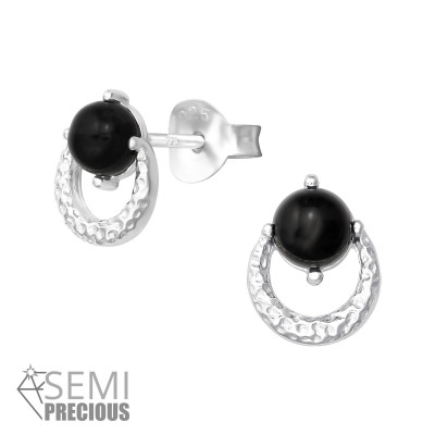 Silver Hammered Ear Studs with Semi Precious