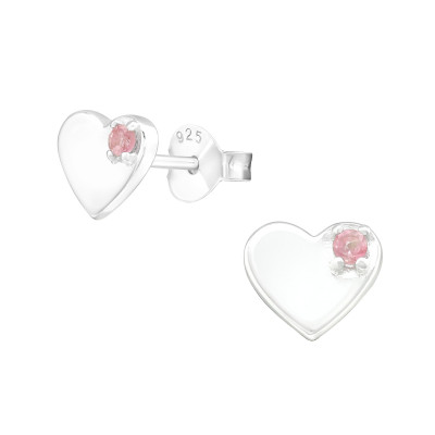 Heart Sterling Silver Ear Studs with Semi Precious