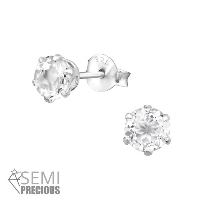 Silver Round 5mm Ear Studs with Semi Precious