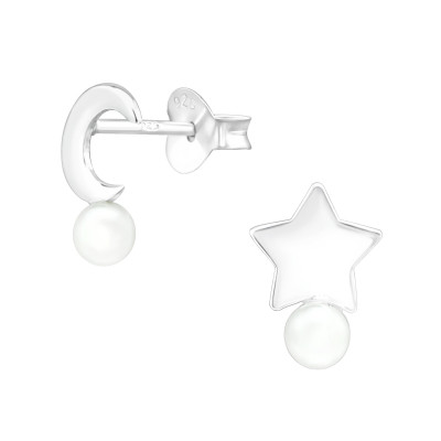 Silver Moon & star Ear Studs with Synthetic Pearl
