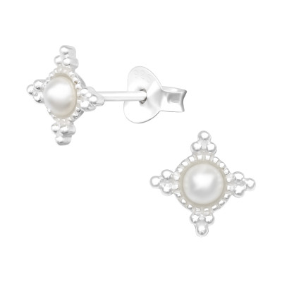 Silver Geometric Ear Studs with Synthetic Pearl