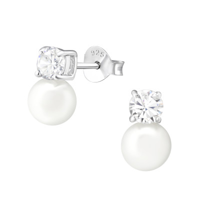 Silver Round Ear Studs with Cubic Zirconia and Synthetic Pearl