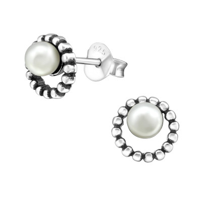 Silver Round Ear Studs with Synthetic Pearl