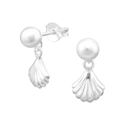 Silver Synthetic Pearl Ear Studs with Hanging  Shell