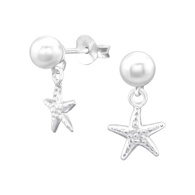 Silver Synthetic Pearl Ear Studs with Hanging Starfish