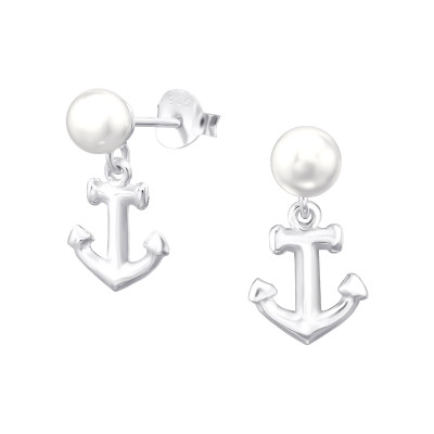 Silver Anchor Ear Studs with Synthetic Pearl