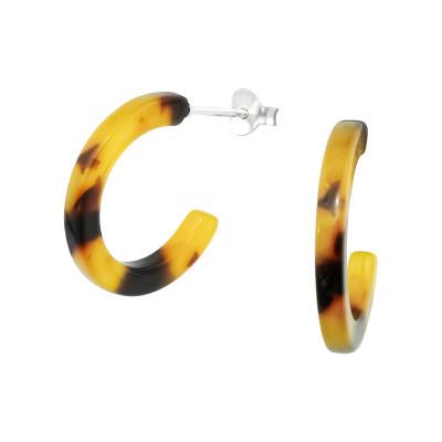 Silver Half Hoop Ear Studs with Acrylic
