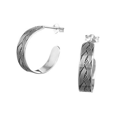 Silver Intertwining Half Hoop Ear Studs