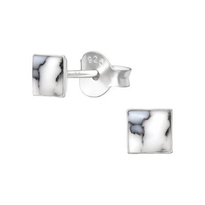 Silver Square Ear Studs with Shell/Imitation Stone
