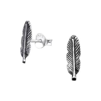 Silver Feather Ear Studs