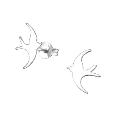 Silver Bird Ear Studs