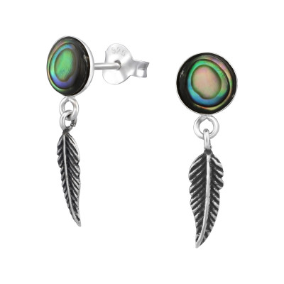 Silver Round Ear Studs with Imitation Stone and Hanging Feather
