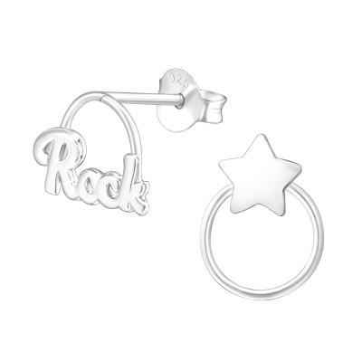 Silver Rock Star Ear Studs