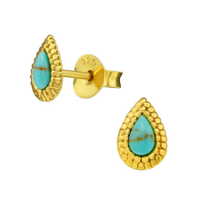 Silver Pear Ear Studs with Imitation Stone