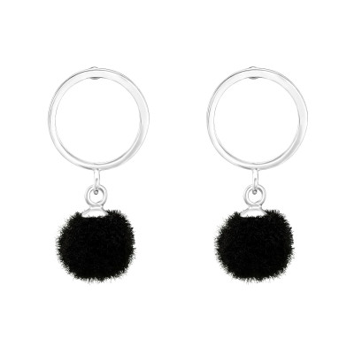 Silver Circle Ear Studs with Hanging Pom-Pom