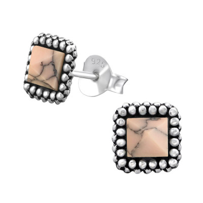Silver Square Ear Studs with Imitation Stone